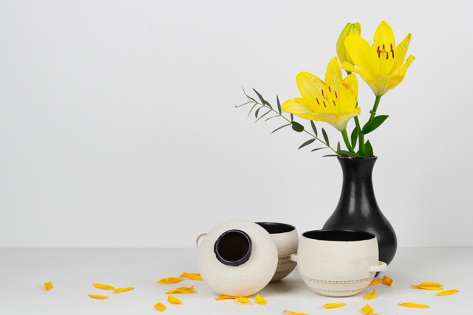 Composition collection GRANNIE - Vases, bouquet de fleur, Tasse et bol avec anse. Émail noir mat, engobe de structure de porcelaine